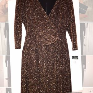 Holiday long shimmer dress Gold and black